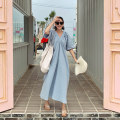 Dress Summer of 2019 Flax ashy blue S M L XL longuette singleton  Short sleeve commute V-neck Loose waist Solid color Socket Big swing routine Others 25-29 years old Type A Art in love with Su Korean version pocket YLSX258 31% (inclusive) - 50% (inclusive) brocade hemp Pure e-commerce (online only)
