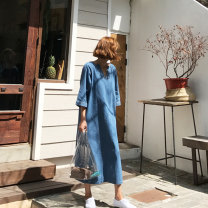 Dress Autumn of 2019 Denim blue S M L XL longuette singleton  three quarter sleeve commute V-neck Loose waist Solid color Socket other routine 25-29 years old Type H Art in love with Su Korean version zipper YLSQ01 51% (inclusive) - 70% (inclusive) Denim cotton Cotton 70% polyester 30%