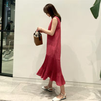Dress Summer of 2019 black S M L XL longuette singleton  Sleeveless commute Crew neck Loose waist Solid color Socket Pleated skirt 18-24 years old Type A Pashto Korean version Ruffle pleated zipper LYQ01166 51% (inclusive) - 70% (inclusive) hemp Flax 55% cotton 45% Pure e-commerce (online only)