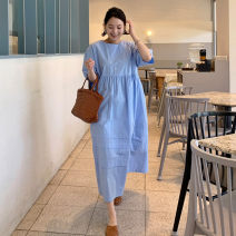 Dress Summer 2021 sky blue S M L XL Mid length dress singleton  elbow sleeve commute Crew neck Loose waist Solid color Socket Big swing puff sleeve 25-29 years old Type A Pashto Korean version Lace up strap PXT9078 More than 95% other cotton Cotton 100% Pure e-commerce (online only)