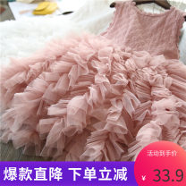 Dress White, lotus root, gray, pink, white + net red hairpin, pink + net red hairpin, lotus root + net red hairpin, gray + net red hairpin female Other / other 100cm,110cm,120cm,130cm,140cm Polyester 95% cotton 5% summer leisure time Solid color polyester fiber other A00411 Class A Chinese Mainland