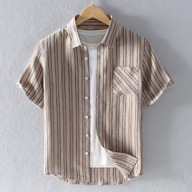 shirt Youth fashion Morgis XL,L,M,XXL,XXXL White, carbon grey, khaki routine square neck Short sleeve easy Other leisure summer youth American leisure 2021 stripe Linen Arrest line