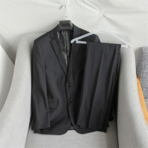 Suit Fashion City Others Black (suit), Navy (suit) 165/M,170/L,175/XL,180/2XL,185/3XL,190/4XL Flat lapel No slits spring standard Double breasted Other leisure Business Casual