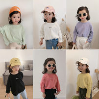 T-shirt White, yellow, black, brown, west red, blue purple, light green Other / other female spring and autumn Long sleeves Crew neck Korean version There are models in the real shooting nothing cotton Solid color DTF528 other other