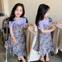 suit Other / other As shown in the picture 5 (recommended height 90-100cm), 7 (recommended height 100-105cm), 9 (recommended height 105-110cm), 11 (recommended height 110-115cm), 13 (recommended height 115-125cm), 15 (recommended height 125-130cm) female summer Korean version Short sleeve + skirt