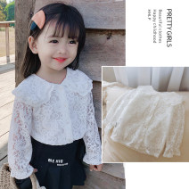 shirt white Other / other female spring and autumn Long sleeves Korean version Solid color other Lapel crew neck other