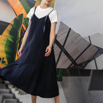 Dress Summer 2020 L9 dark blue 32 34 36 38 Mid length dress singleton  Sweet V-neck middle-waisted Solid color other Irregular skirt 25-29 years old Type A Emodeus EPXFSS81 51% (inclusive) - 70% (inclusive) other hemp Flax 53.4% viscose fiber 46.6% Mori