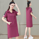 Dress Summer 2021 Red bean paste red black M L XL 2XL 3XL Mid length dress singleton  Short sleeve commute Crew neck High waist letter Socket other routine Others 25-29 years old Black and white feelings Korean version 31% (inclusive) - 50% (inclusive) other nylon Pure e-commerce (online only)