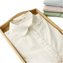 shirt S,M,L,XL,XXL Spring 2021 cotton 96% and above Long sleeves Sweet Regular Doll Collar Single row multi button shirt sleeve Solid color 18-24 years old Self cultivation Other / other Ok70-03 four color baby collar solar system pure cotton