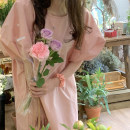 Dress Summer 2021 Pink Average size Middle-skirt singleton  Short sleeve commute Crew neck Loose waist stripe Socket other bishop sleeve 18-24 years old Type H Korean version pocket 71% (inclusive) - 80% (inclusive) cotton