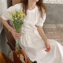 Dress Summer 2021 white Average size Mid length dress singleton  Short sleeve commute Crew neck High waist Solid color Big swing puff sleeve 18-24 years old Type A Korean version pocket 71% (inclusive) - 80% (inclusive) cotton