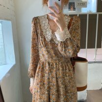 Dress Spring 2021 Orange, blue, red and white Average size longuette singleton  Long sleeves commute V-neck High waist Broken flowers zipper A-line skirt routine Others 18-24 years old Type A Korean version Lace 71% (inclusive) - 80% (inclusive) Chiffon polyester fiber