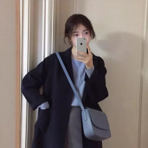 Fashion suit Winter of 2019 S,M,L,XL Dark blue coat, fog blue T-shirt, grey skirt 18-25 years old 81% (inclusive) - 90% (inclusive)