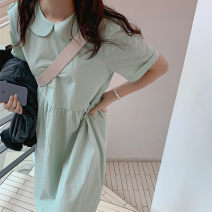 Dress Summer 2021 Light green Average size Mid length dress singleton  Short sleeve commute Doll Collar Loose waist Solid color routine Others 18-24 years old Type H Korean version 51% (inclusive) - 70% (inclusive) cotton