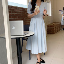 Dress Summer 2021 Sky blue, white, bean green Average size Mid length dress singleton  Short sleeve commute V-neck High waist Solid color A-line skirt puff sleeve 18-24 years old Type A Korean version 71% (inclusive) - 80% (inclusive) cotton