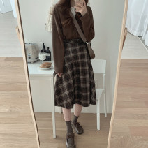 skirt Winter 2020 S,M,L,XL Black check (for belt), coffee check (for belt) Mid length dress Versatile High waist Umbrella skirt lattice Type A 18-24 years old 71% (inclusive) - 80% (inclusive)