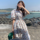 Dress Summer 2021 Picture color Average size longuette singleton  Short sleeve commute square neck High waist Broken flowers Ruffle Skirt puff sleeve 18-24 years old Type A Korean version Lace, lace 71% (inclusive) - 80% (inclusive) cotton