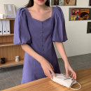 Dress Summer 2021 Purple, black Average size Middle-skirt singleton  Short sleeve commute square neck High waist Solid color Single breasted A-line skirt puff sleeve 18-24 years old Type A Korean version 71% (inclusive) - 80% (inclusive) polyester fiber