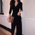 Dress Autumn of 2019 S M L XL longuette singleton  Long sleeves commute V-neck High waist Solid color other Big swing routine Breast wrapping 18-24 years old Type A Shi Xian Retro Splicing bandage More than 95% brocade polyester fiber Polyester 100% Pure e-commerce (online only)