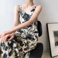 Dress Summer 2021 Marbling, ripple S,M,L,XL longuette singleton  Sleeveless commute V-neck High waist Decor Socket A-line skirt routine camisole 25-29 years old Type A printing sixty-three million three hundred and twenty-five thousand eight hundred and forty-five Chiffon other