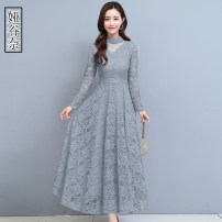 Women's large Autumn 2020 M L XL 2XL 3XL Dress singleton  commute Self cultivation moderate Socket Long sleeves Solid color Korean version stand collar Three dimensional cutting routine Yagunai 35-39 years old longuette Other 100% Pure e-commerce (online only)