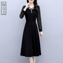 Dress Spring 2021 black M L XL 2XL 3XL 4XL 5XL Mid length dress singleton  Long sleeves commute V-neck middle-waisted Solid color Socket A-line skirt routine Others 35-39 years old Type A Yagunai Korean version Splicing YGN2021X0202,,, More than 95% other Other 100% Pure e-commerce (online only)