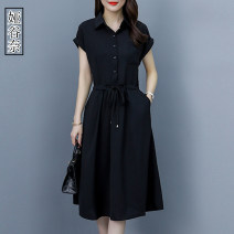 Dress Summer 2020 Pink Black M L XL 2XL Mid length dress singleton  Short sleeve commute Polo collar middle-waisted Solid color A-line skirt routine Others 35-39 years old Yagunai Korean version Bandage YGN2020A5056I More than 95% other Other 100% Pure e-commerce (online only)