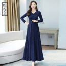 Dress Autumn 2020 Navy Red Green Purple M L XL 2XL 3XL longuette singleton  Long sleeves commute V-neck middle-waisted Solid color Socket Big swing routine Others 35-39 years old Type A Yagunai Korean version zipper YGN2020X7102r More than 95% other Other 100% Pure e-commerce (online only)