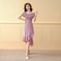 Dress Summer 2021 Pink purple flower S M L XL longuette singleton  Short sleeve commute One word collar High waist Decor Socket A-line skirt routine Others 25-29 years old Type H A concubine Korean version printing YF2216 More than 95% Chiffon other Other 100% Pure e-commerce (online only)