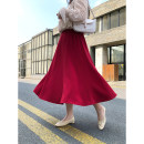 Women's large Spring 2021, summer 2021 Black, red 1W,2W,3W skirt singleton  commute easy thin lady polyester Three dimensional cutting Dimple peach 25-29 years old 91% (inclusive) - 95% (inclusive) longuette Ruffle Skirt 251g / m ^ 2 (including) - 300g / m ^ 2 (including)