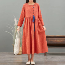 Dress Autumn 2020 Orange rose red blue Average size longuette singleton  Long sleeves commute Crew neck High waist Decor Socket A-line skirt routine Others 30-34 years old Type A Mu Mei's Poems literature M5511 More than 95% other Other 100% Exclusive payment of tmall