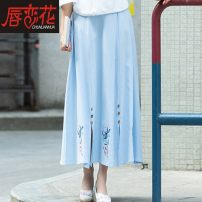 skirt Spring of 2019 Mid length dress commute Natural waist A-line skirt Solid color 51% (inclusive) - 70% (inclusive) cotton ethnic style Pure e-commerce (online only)