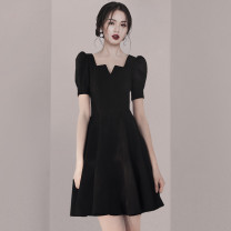 Dress Summer 2020 Black (high quality stock), collect baby, add shopping cart to give small gift S,M,L,XL,2XL Short skirt singleton  Short sleeve commute V-neck High waist Solid color zipper A-line skirt Others Type A Retro