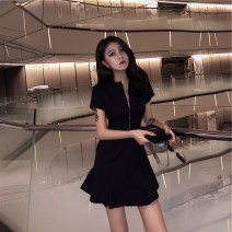 Dress Summer 2020 Black, yellow S,M,L,XL Middle-skirt singleton  Short sleeve commute Crew neck High waist Solid color zipper A-line skirt routine Others Type X Retro Ruffle, open back, chain, stitching, asymmetry