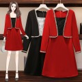 Women's large Autumn 2020 Red and black Big l big XL big XXL big 3XL big 4XL big 5XL Dress Fake two pieces commute Self cultivation moderate Socket Long sleeves Korean version other Medium length Three dimensional cutting other 9697a in stock Capital purity Lace stitching Medium length Other 100.00%