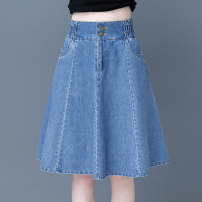 skirt Spring 2021 S/26 M/27 L/28 XL/29 XXL/30 XXXL/31 Blue (back elastic waist) Mid length dress commute High waist A-line skirt Solid color Type A MCH6607++ More than 95% Denim Name lip cotton Three dimensional decorative pocket button zipper dovetail stitching Korean version
