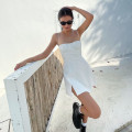 Dress Spring 2021 white S,M,L Short skirt singleton  Sleeveless commute One word collar High waist Solid color other A-line skirt other camisole Type H Other / other Simplicity More than 95% other polyester fiber