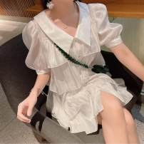 shirt White dress S,M,L,XL Summer 2020 other 96% and above Short sleeve commute Doll Collar Single row multi button routine Solid color 18-24 years old Self cultivation Korean version