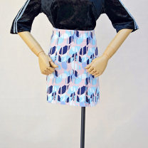 skirt Spring 2021 S blue Short skirt commute Natural waist A-line skirt Abstract pattern Type A 18-24 years old 51% (inclusive) - 70% (inclusive) knitting cotton Zipper, thread decoration, stitching, patching, printing, asymmetry ethnic style 101g / m ^ 2 (including) - 120g / m ^ 2 (including)