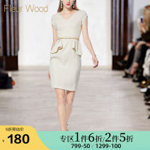 Dress Summer of 2018 Apricot S XL L M Middle-skirt singleton  Short sleeve street V-neck High waist Solid color other One pace skirt routine Others 30-34 years old Type X FLEUR WOOD Lace up More than 95% polyester fiber Polyester 100% Pure e-commerce (online only) Europe and America