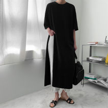 T-shirt Black and white S M L XL Summer 2021 Long sleeves Crew neck easy Medium length routine commute cotton 96% and above 25-29 years old Korean version Solid color Enchantment of imperial concubines U43 Split Cotton 100% Pure e-commerce (online only)