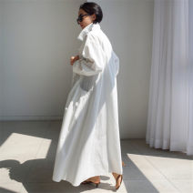 Dress Summer 2020 white S M L XL longuette singleton  Long sleeves commute Polo collar Loose waist Solid color Single breasted A-line skirt routine 25-29 years old Enchantment of imperial concubines Korean version Pleated pocket with lace up buttons F53 More than 95% cotton Cotton 100%