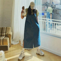 Dress Spring 2021 Denim blue S M L XL longuette singleton  Sleeveless commute High waist Solid color Single breasted A-line skirt routine straps 18-24 years old Type A Enchantment of imperial concubines Korean version Button CAO111 More than 95% Denim polyester fiber Polyester 100%