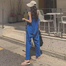 Casual pants Blue Beige S M L XL Summer of 2019 Ninth pants Wide leg pants Natural waist commute routine B36 Enchantment of imperial concubines Korean version pocket Cotton 50% LINEN 50% Pure e-commerce (online only)