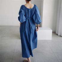Dress Summer 2021 Beige Pink Blue Black S M L XL longuette singleton  Long sleeves commute Crew neck Loose waist Solid color Socket A-line skirt routine 25-29 years old Type A Enchantment of imperial concubines Korean version Bow fold pocket lace up U35 More than 95% cotton Cotton 100%