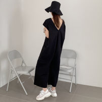 Casual pants Black Khaki S M L XL Summer of 2019 Ninth pants Wide leg pants Natural waist commute routine B60 Enchantment of imperial concubines Korean version pocket Cotton 100% Pure e-commerce (online only)