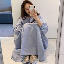 Dress Summer 2021 blue S M L XL Mid length dress singleton  Long sleeves commute V-neck Loose waist Solid color Socket A-line skirt routine 25-29 years old Enchantment of imperial concubines Korean version Pocket button U42 More than 95% cotton Cotton 100% Pure e-commerce (online only)