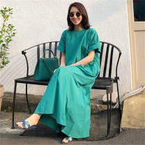 Dress Summer 2020 green S M L XL longuette singleton  Short sleeve commute Crew neck Loose waist Solid color Socket A-line skirt Lotus leaf sleeve 25-29 years old Enchantment of imperial concubines Korean version Ruffle zipper More than 95% cotton Cotton 100% Pure e-commerce (online only)
