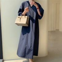 Dress Summer 2020 Navy ginger S M L XL longuette singleton  Long sleeves commute V-neck Loose waist Solid color Socket A-line skirt bishop sleeve 25-29 years old Enchantment of imperial concubines Korean version Pleated pocket F80 More than 95% cotton Cotton 100% Pure e-commerce (online only)