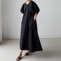 Dress Summer 2020 Black white green S M L XL longuette singleton  Short sleeve commute Crew neck Loose waist Solid color Socket A-line skirt routine 25-29 years old Enchantment of imperial concubines Korean version pocket F151 More than 95% cotton Cotton 100% Pure e-commerce (online only)